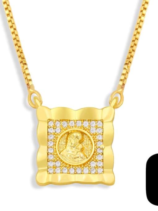 C Brass Cubic Zirconia Religious Vintage Necklace