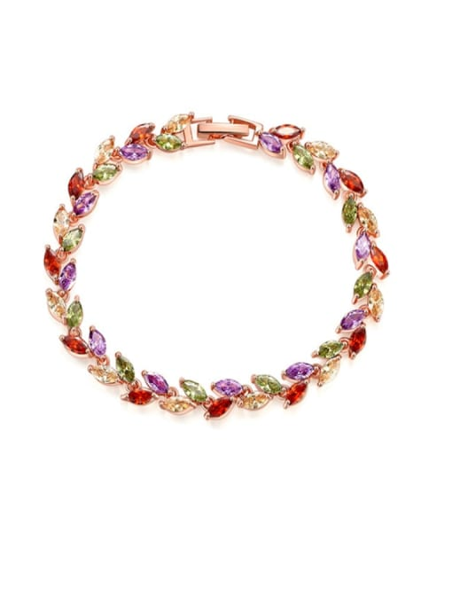 DUDU Brass Cubic Zirconia Multi Color Leaf Dainty Bracelet 0