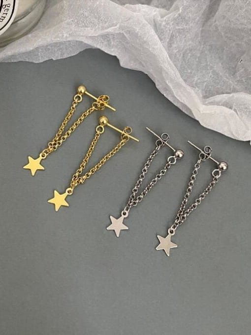 A TEEM Titanium Tassel Minimalist Five-pointed star Drop Earring 3