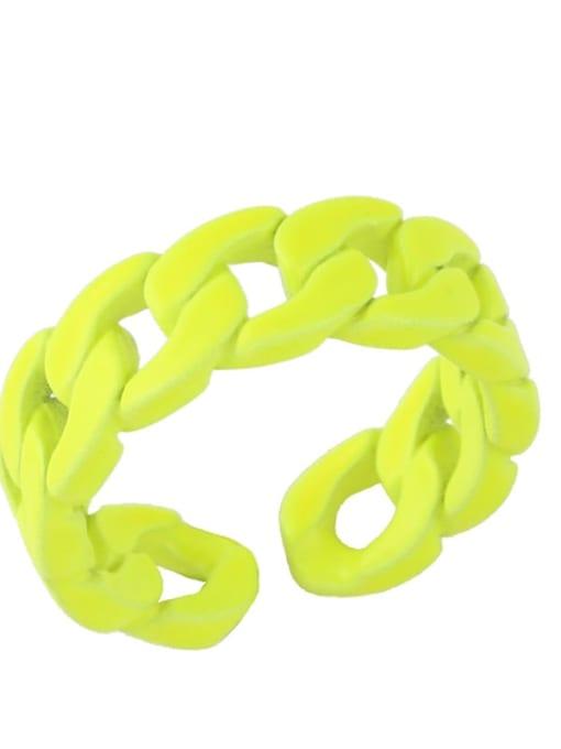 yellow Brass Geometric Hip Hop Band Ring