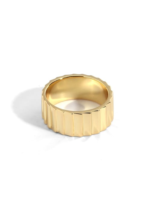 Gold plain gold gear ring wide version Brass Round Vintage Band Ring