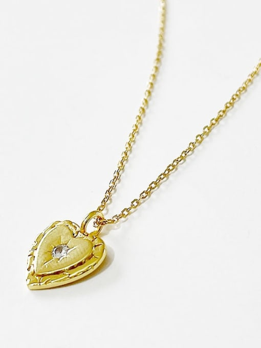 Boomer Cat 925 Sterling Silver Rhinestone Heart Minimalist Necklace