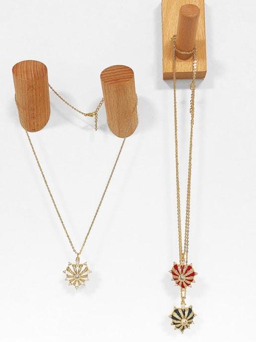 CC Brass Cubic Zirconia Enamel Heart Ethnic Necklace 3