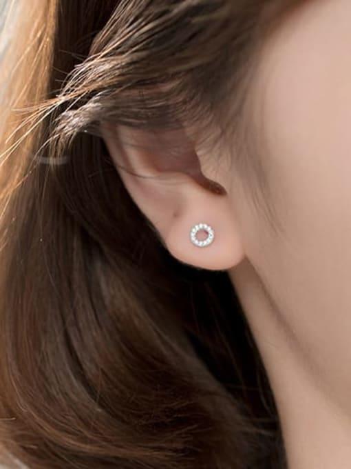 Rosh 925 Sterling Silver Rhinestone Cross Minimalist Stud Earring 3