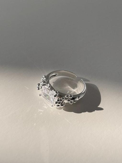 Square diamond  j1565 4.2g 925 Sterling Silver Irregular Vintage Band Ring
