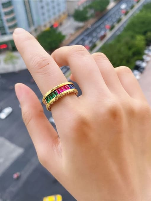 DUDU Brass Cubic Zirconia Geometric Luxury Band Ring 2