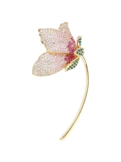 Luxu Brass Cubic Zirconia Flower Trend Brooch 3
