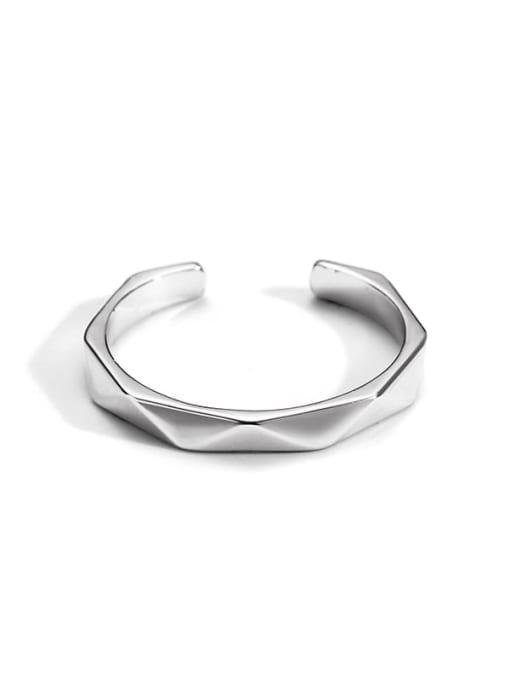 Platinum Brass Smooth Geometric Minimalist Band Ring