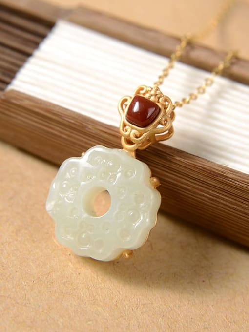 White jade (No chain) 925 Sterling Silver Jade Vintage Flower  Pendant
