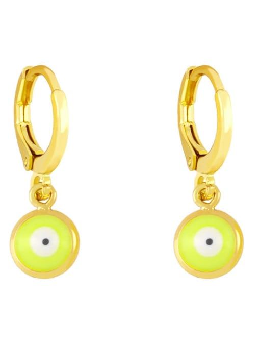 yellow Brass Enamel Evil Eye Minimalist Huggie Earring