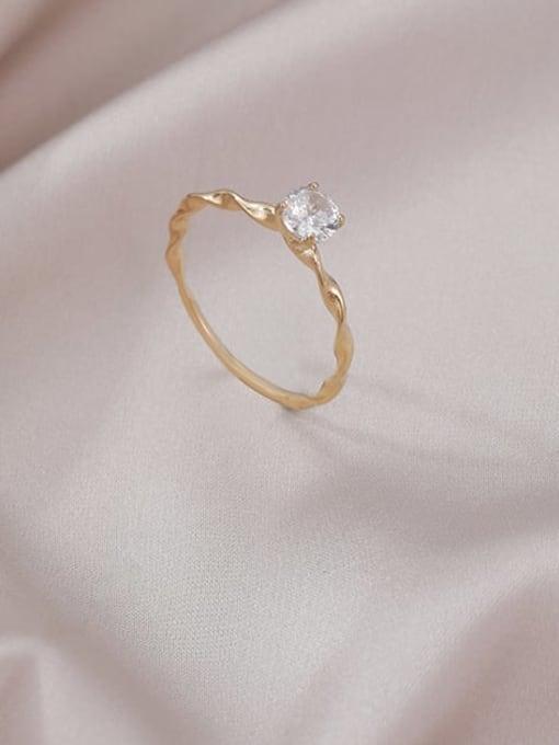 MIYA Titanium Steel Rhinestone Irregular Minimalist Band Ring 0