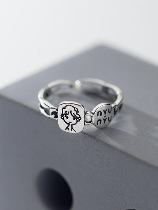 Rosh 925 Sterling Silver Geometric Letter Vintage Band Ring