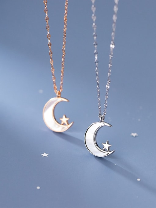 Rosh 925 Sterling Silver Shell Moon Minimalist Pendant Necklace