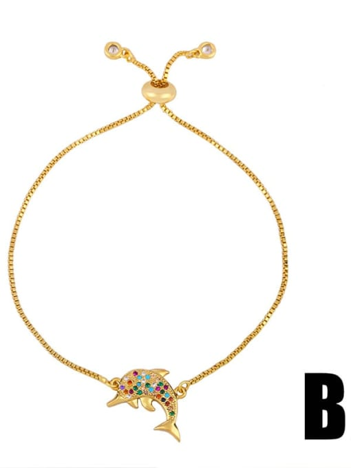 CC Brass Cubic Zirconia Turtle Cute Link Bracelet 2