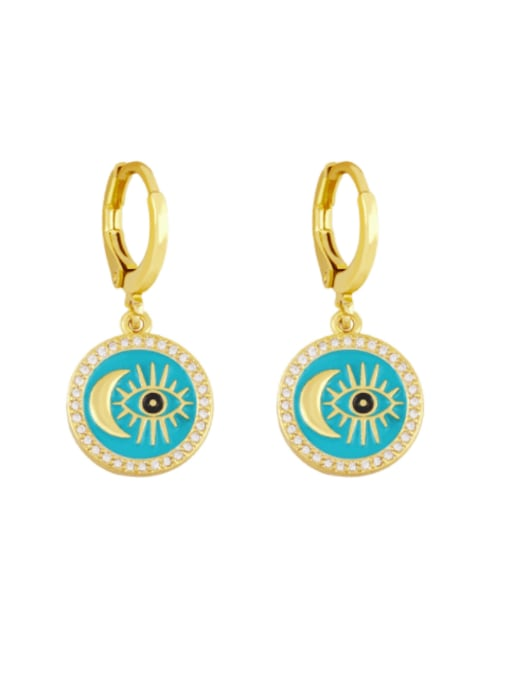 blue Brass Enamel Evil Eye Vintage Huggie Earring