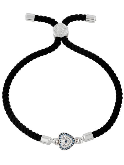 Black rope love silver Brass Cubic Zirconia Heart Vintage Woven Wire Bracelet