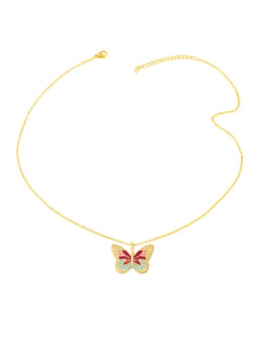 CC Brass Enamel Butterfly Minimalist Necklace 4