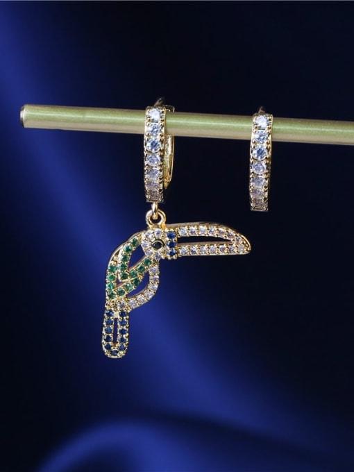 DUDU Brass Cubic Zirconia  Asymmetry Cute  Bird  Huggie Earring 1