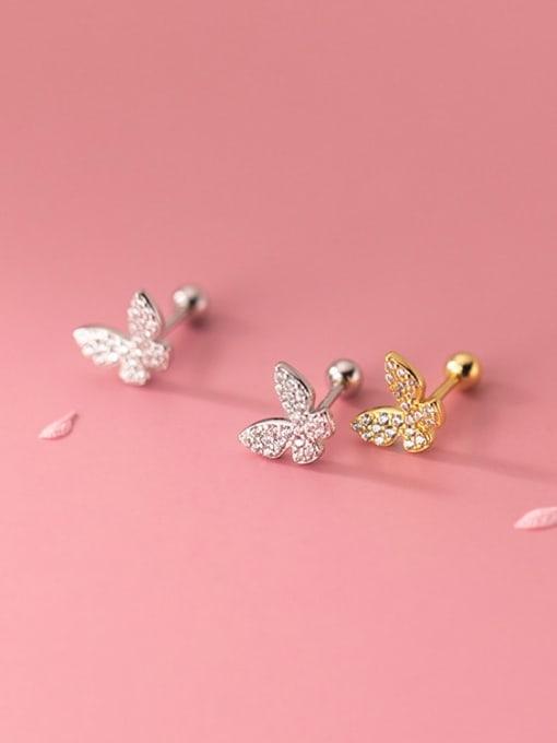 Rosh 925 Sterling Silver Cubic Zirconia Butterfly Minimalist Stud Earring 1