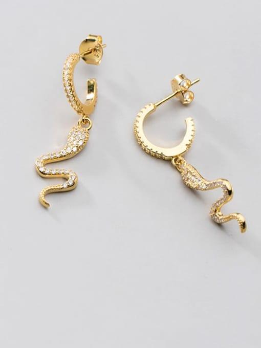 Rosh 925 Sterling Silver Cubic Zirconia Snake Ethnic Drop Earring 1