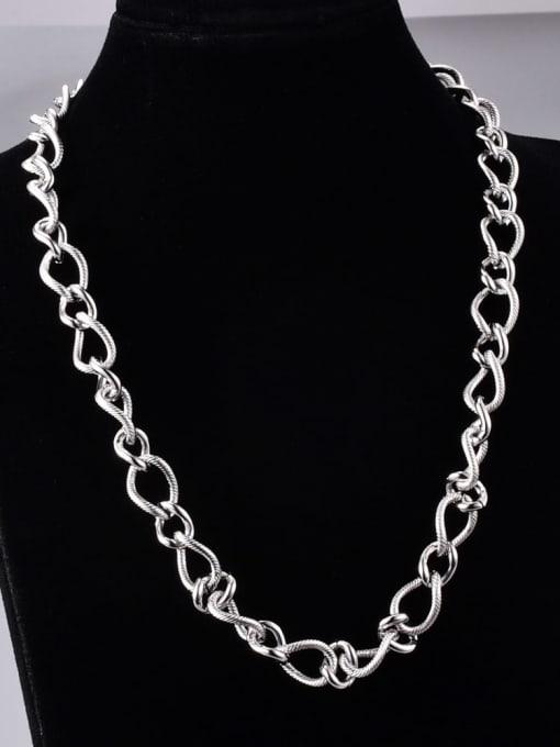 A TEEM Titanium Steel Hollow Geometric Vintage Chain Necklace