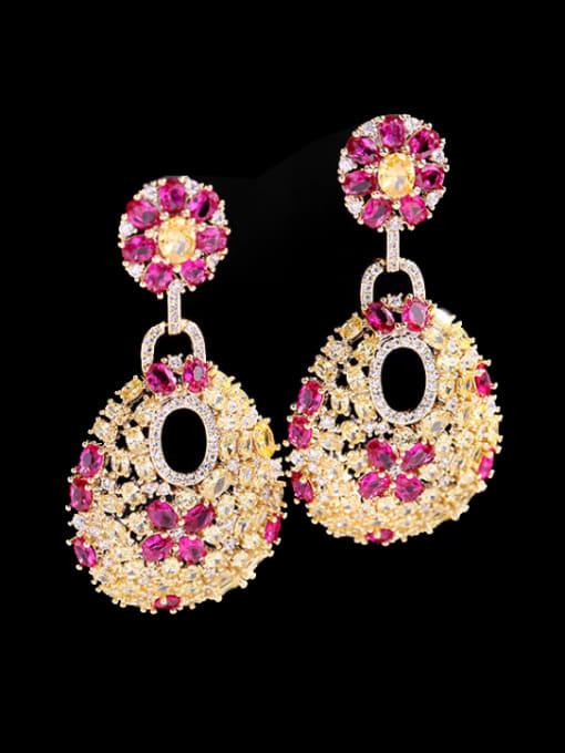 Rose red yellow zirconium Brass Cubic Zirconia Water Drop Luxury Drop Earring