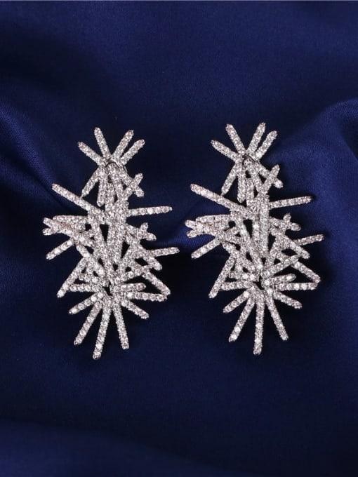 DUDU Brass Cubic Zirconia Flower Luxury Stud Earring 1