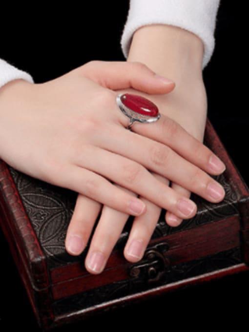 DEER 925 Sterling Silver Jade Oval Luxury Band Ring 3
