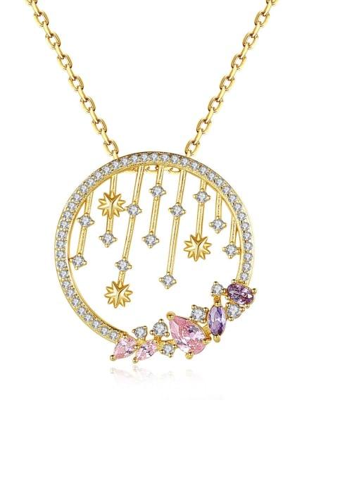 BLING SU Brass Cubic Zirconia Geometric Vintage Necklace