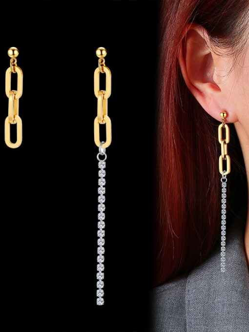 CONG Titanium Steel Geometric Minimalist Drop Earring 1