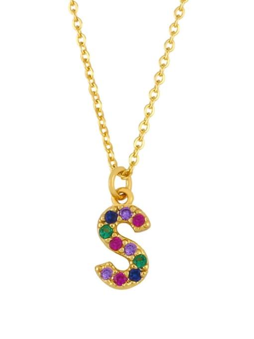 S Brass Cubic Zirconia Letter Vintage Necklace