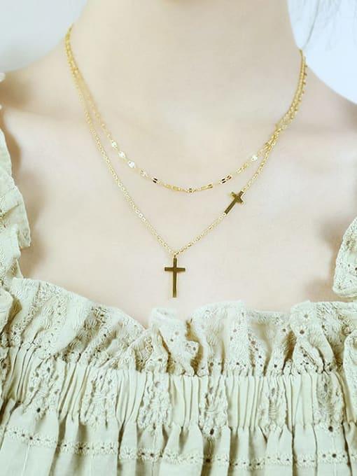 Open Sky Titanium Steel Cross Minimalist Multi Strand Necklace 1