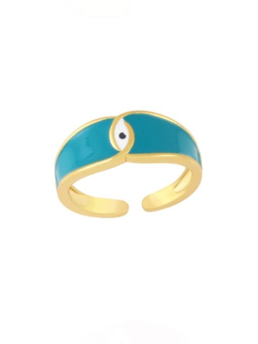 green Brass Enamel Evil Eye Minimalist Band Ring