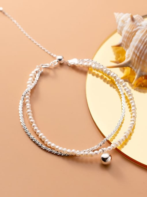 Rosh 925 Sterling Silver Imitation Pearl Round Minimalist Strand Bracelet