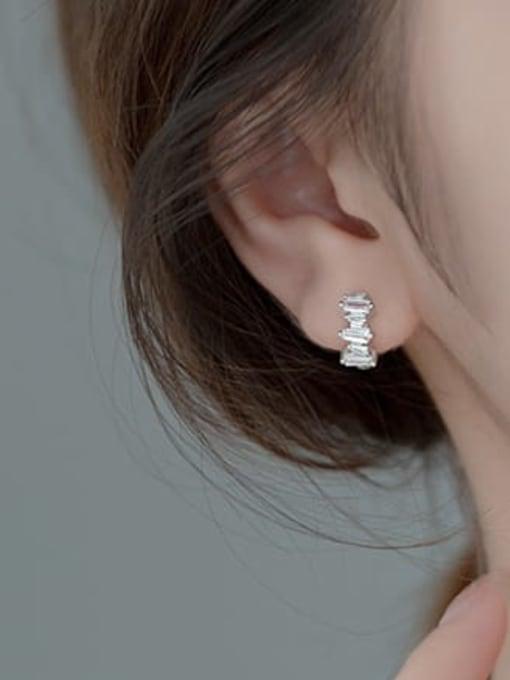 Rosh 925 Sterling Silver Cubic Zirconia Geometric Vintage Huggie Earring 1