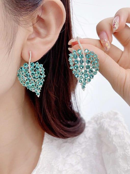 Luxu Brass Cubic Zirconia Leaf Bohemia Stud Earring 1