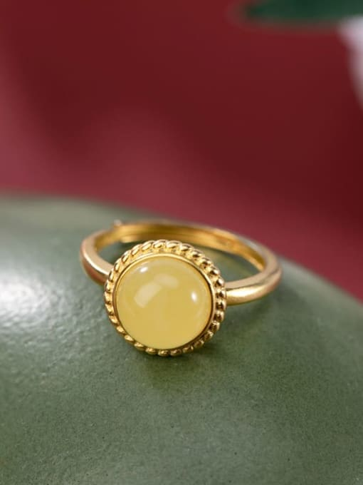 DEER 925 Sterling Silver Amber Round Minimalist Band Ring