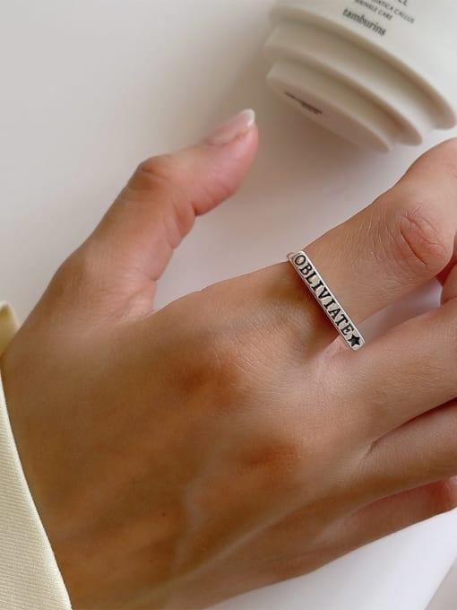 Letter ring j161 2.3g 925 Sterling Silver Irregular Vintage Band Ring