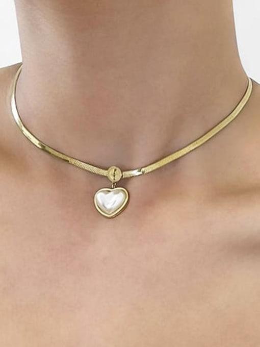 A TEEM Titanium Steel Shell Heart Vintage Necklace 2