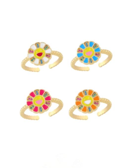 CC Brass Enamel Smiley Flower Minimalist Band Ring 0