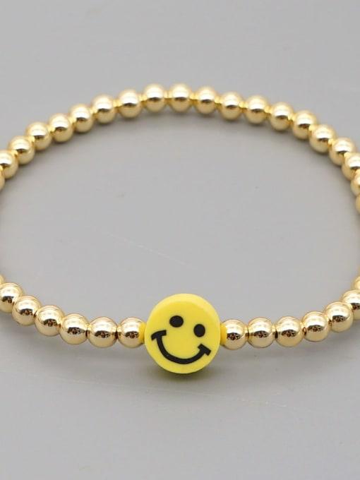 QT B200203E Stainless steel Polymer Clay Smiley Bohemia Beaded Bracelet