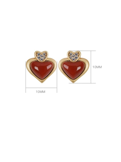DEER 925 Sterling Silver Carnelian Heart Vintage Stud Earring 2