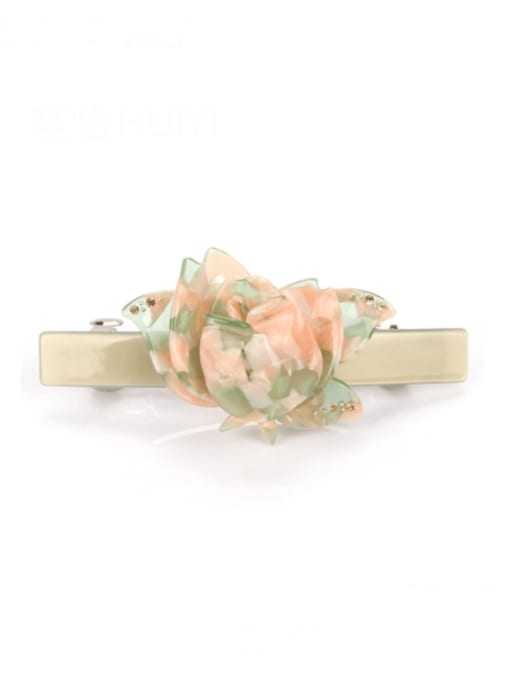 Early spring green Cellulose Acetate Minimalist Flower Zinc Alloy spring Hair Barrette