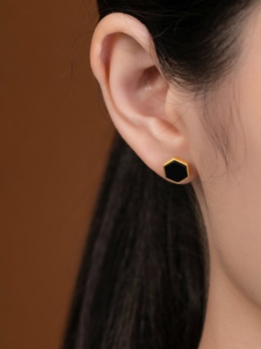 DEER 925 Sterling Silver Black Jade Geometric Minimalist Stud Earring 1