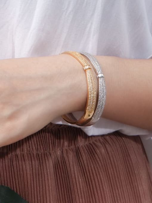 L.WIN Brass Cubic Zirconia Butterfly Classic Band Bangle 1