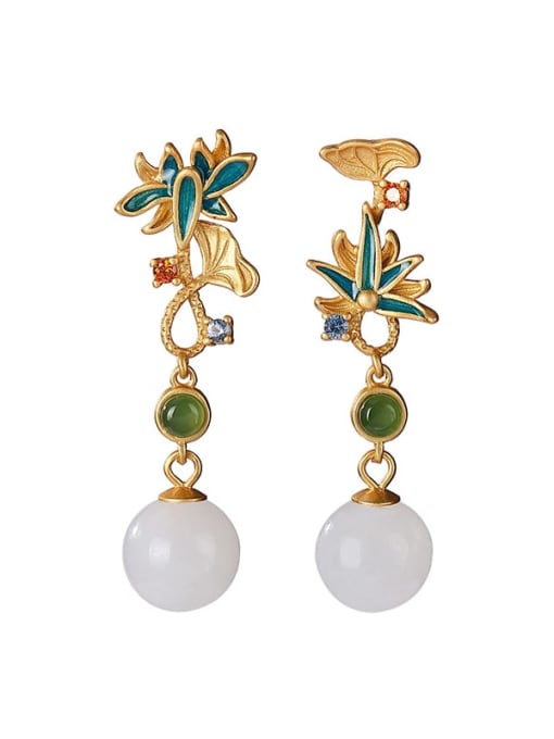 DEER 925 Sterling Silver Jade Enamel Flower Vintage Drop Earring