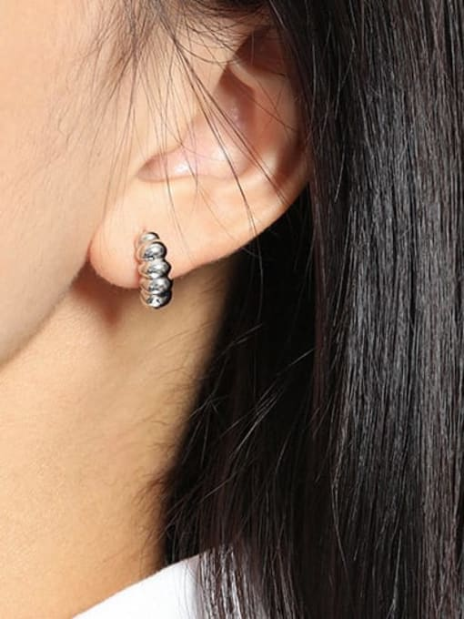 DAKA 925 Sterling Silver Irregular Vintage Stud Earring 1