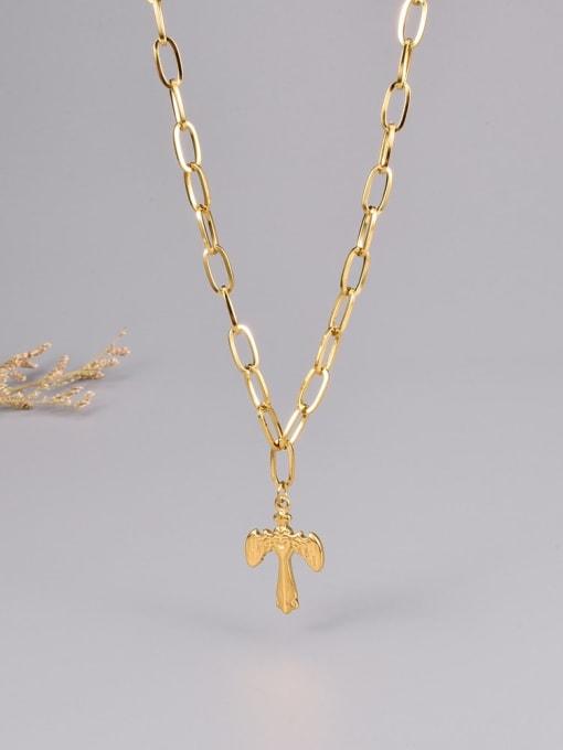 A TEEM Titanium Steel Cross Minimalist Necklace 0