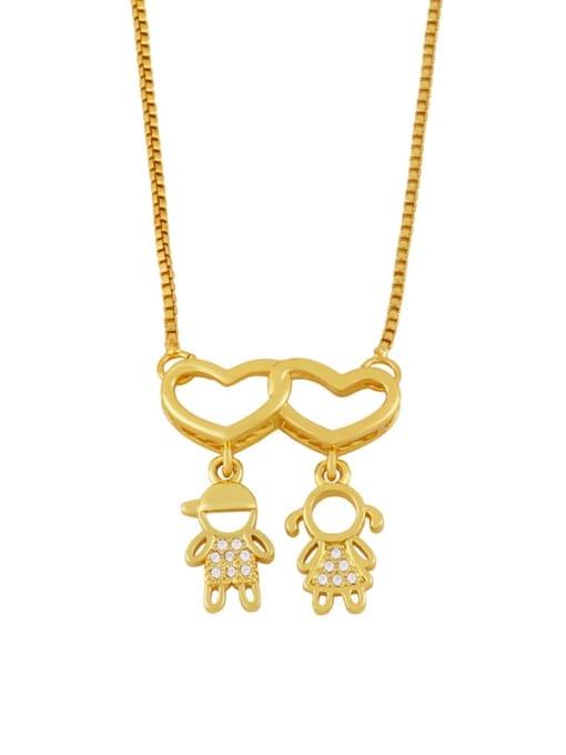 Boys and girls Brass Cubic Zirconia Heart Cute  Boy Girl Pendant Necklace
