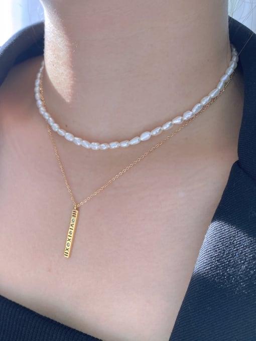 LI MUMU Titanium Steel Freshwater Pearl Geometric Minimalist Multi Strand Necklace 1